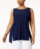 Belldini Plus Size Studded High-Low Top