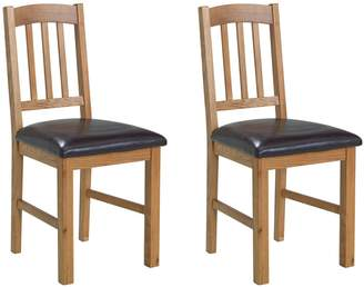 Argos Home Pair of Solid Oak Slatted Chairs