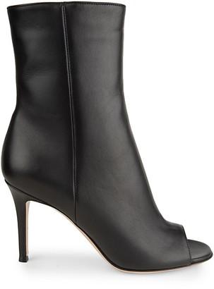Gianvito Rossi Peep-Toe Leather Booties