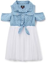 Dollhouse Light Blue & White Polka-Dot Off-Shoulder Dress - Girls