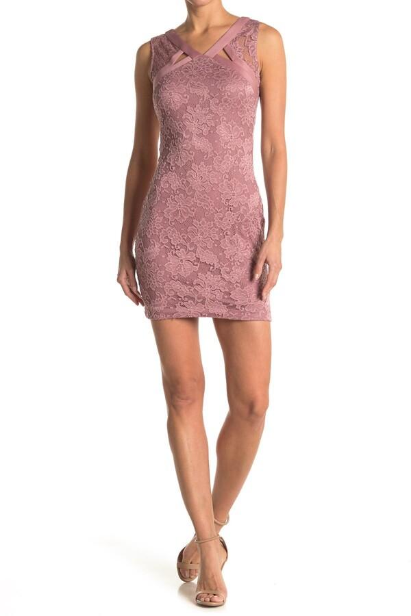 GUESS V-Neck Lace Sheath Dress