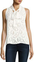 Rebecca Taylor Sleeveless Satin Jacquard Top, White