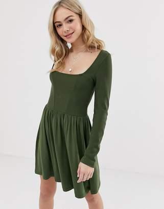 Asos Design DESIGN mixed fabric long sleeve skater dress-Green