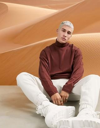 ASOS DESIGN ovesized long sleeve roll neck t-shirt in brown