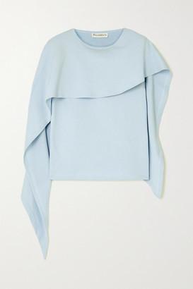 J.W.Anderson Asymmetric Cape-effect Cotton-jersey Top - Light blue