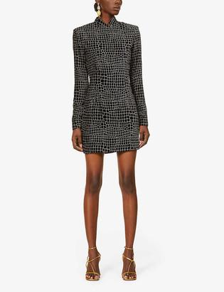 Redemption Glitter-pattern velvet mini dress