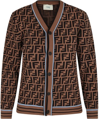 Fendi Brown Cardigan With Double Ff For Boy