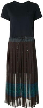 Sacai contrast-panel T-shirt dress
