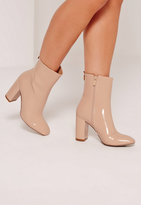 Missguided Patent Heeled Ankle Boots Nude