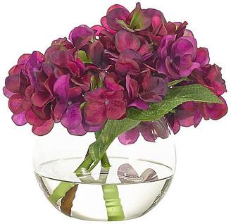 """8"""" Hydrangea in Bubble Vase - Faux - NDI - arrangement, purple; vessel, clear"""