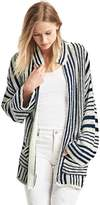 Linen-cotton stripe cardigan