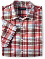 Classic Men's Traditional Fit Short Sleeve Linen Pattern Shirt-Cobalt