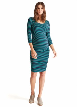 Ingrid & Isabel Women's Maternity 3/4 Sleeve Shirred Dress
