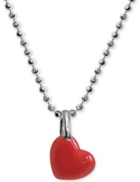 "Alex Woo Red Enamel Heart 16"" Pendant Necklace in Sterling Silver"