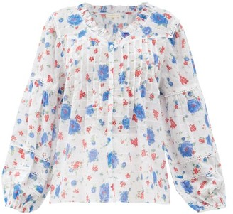LoveShackFancy Levine Floral-print Cotton-voile Blouse - White Multi