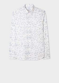 Paul Smith Men's Slim-Fit White 'Paper Planes' Print Stretch-Cotton Shirt