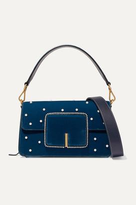 Wandler Georgia Leather-trimmed Faux Pearl-embellished Velvet Shoulder Bag - Navy