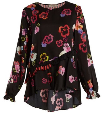 Preen Line Darcey Ruffle-trimmed Pansy-print Crepe Top - Black Multi