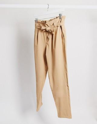 JDY dakota paperbag waist trousers in beige