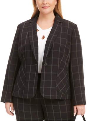 Kasper Plus Size Windowpane Notch-Collar Blazer