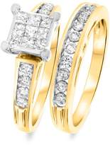 My Trio Rings 1 CT. T.W. Round, Princess Cut Diamond Ladies Bridal Wedding Ring Set 14K Yellow Gold