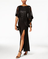 R & M Richards Sequined Lace Cold-Shoulder Cape Gown