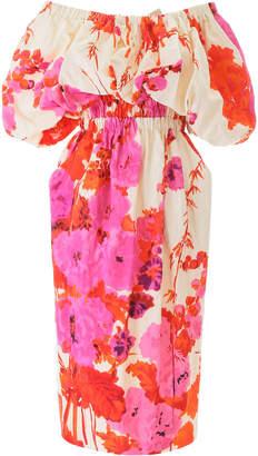 Dries Van Noten Flower Print Off-shoulder Dress