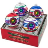 Christopher Radko Shiny Brite Traditional Brights Decorated Reflector Rounds Boxed Ornaments, 4-Pc. Set