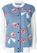 Fendi fur patch baseball jacket - women - Silk/Cotton/Lamb Skin/Spandex/Elastane - 38