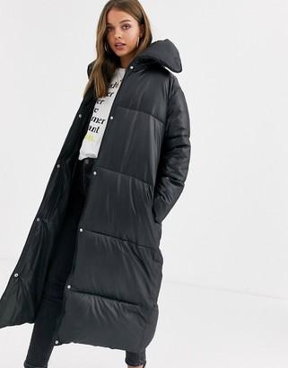 Asos Design DESIGN extreme collar longline puffer coat in black-Green