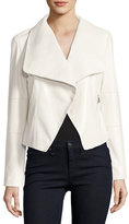Neiman Marcus Draped Leather Moto Jacket, Ecru