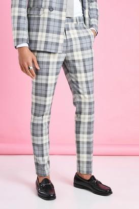 boohoo Mens Cream Skinny Check Suit Trouser, Cream