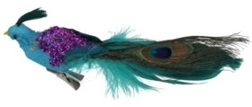 """Northlight 8"""" Blue Green and Purple Sequins Peacock Bird Clip-On Christmas Ornament"""