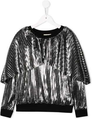 Andorine metallic pleated sweatshirt