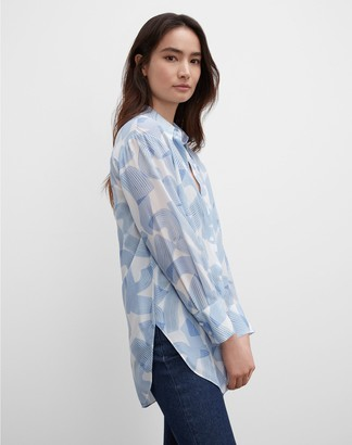 Club Monaco Silk Print Tunic Button Down Shirt