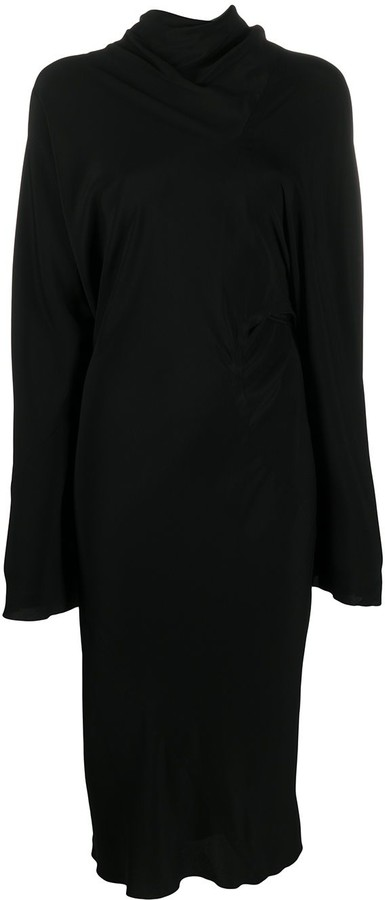 Rick Owens Long Sleeve Draped Jersey Dress