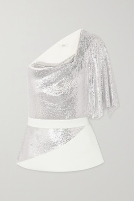 Safiyaa One-shoulder Belted Chainmail And Crepe Top - Ivory