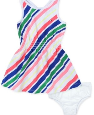 Tommy Hilfiger Baby Girls Striped Fit & Flare Tank Dress & Diaper Cover Set