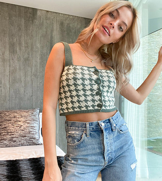ASOS DESIGN Petite co-ord knitted crop in green dogtooth