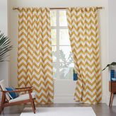 west elm Cotton Canvas Zigzag Curtain - Maize