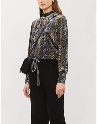 The Kooples Snakeskin-print velour top