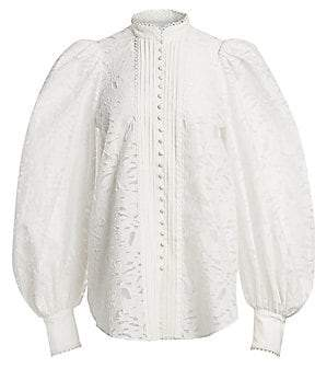 Acler Women's Montana Balloon-Sleeve Embroidery Blouse