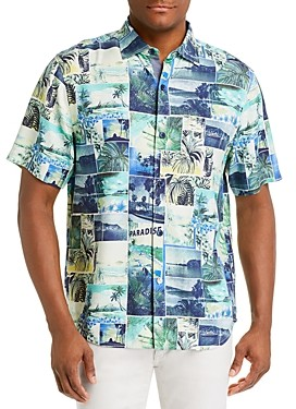 Tommy Bahama Island Snapshot Regular Fit Short-Sleeve Silk Shirt