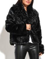 Everest Black Faux-Fur Button Jacket