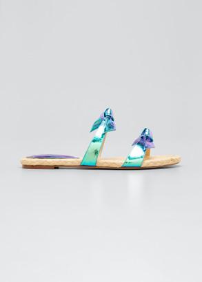 Alexandre Birman Clarita Holographic Woven Rope Flat Sandals
