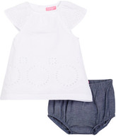 Isaac Mizrahi Eyelet Lace Dress & Chambray Bloomer Set (Baby Girls 12-24M)