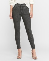 Express High Waisted Hyper Stretch Black Seamed Jean Ankle Leggings