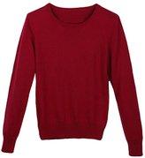 Viottis Women's Crewneck Cashmere Wool Long Sleeve Pullover Sweater Light Green L