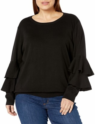City Chic Women's Apparel Women's Plus Size Relaxed Jumper with Ruffle Sleeve Detail