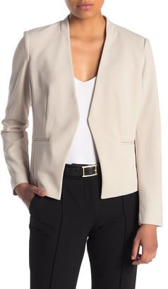 PREMISE STUDIO Long Sleeve Cropped Open Front Knit Blazer (Petite)